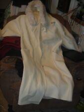 Linda Lundstrom Laparka Womens Coat Cape Small Ivory Faux Fur Hood Wool Canada