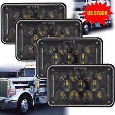 "Dot Approved 4x6"" H4 Black LED Headlights for Kenworth H4651 H4652 H4656 H4666"