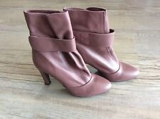 UNISA DUSKY PINK LEATHER ANKLE BOOTS SIZE 38 UK 5 Excellent Condition