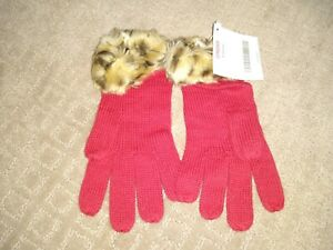 Gymboree GLAMOUR KITTY HOLIDAY Leopard Faux Fur Trim  Red Gloves NWT
