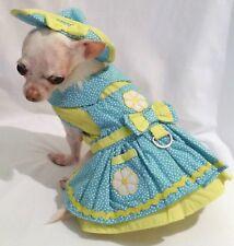 Dog Harness Set/Dog Dress/ Crazy Daises/dog clothes/chihuahua/ xs,s,m, l