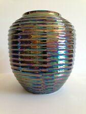 SUPERBE vase cache pot strié  CERAMIQUE  1950 - 60's VINTAGE  noir petrole