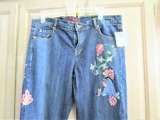 DISNEY EYEORE/FLOWERS EMBROIDERED JEANS  BRAND NEW   WAIST 36""