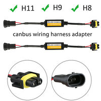 2pcs H11/H9/H8 LED Headlight Canbus Wiring Harness Adapter Anti Flicker Decoder
