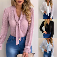 Womens Ladies Lace Chiffon Tops Blouse V Neck Tie Long Sleeve T-Shirt Plus  Size
