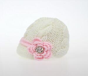Newborn Baby Girls knit hat cap crochet flower button 0-3 3-6 6-12 month white