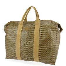 MARIO VALENTINO Boston bag MV mark beige PVC ~ leather Auth used T18873