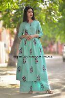 Indian Women Kurta Palazzo Pant Dress Set Combo Ethnic Kurti Top Tunic Bottom