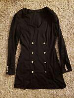 Women's Black Button Long Sleeve Dress Sz M
