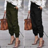 ZANZEA Femme Pantalon Simple Coton Taille elastique Décontracté lâche Long Plus