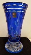 "Faberge Cobalt Blue Cased Cut To Clear Crystal 91/2"" Vase Signed Sticker"