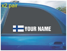 YOUR NAME RALLY RACE CAR WINDOW STICKER FINLAND FINISH FLAG WHITE X2 ALL COLOURS