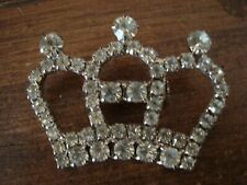 Vintage Queen Princess Clear Rhinestone Tiara Crown Brooch Bling Pin Vgc