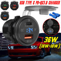 Type C PD + QC 3.0 Fast Charger Socket Voltmeter Dual USB Port Outlet Car Truck