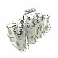 "NEW IN BOX Set of 8 Vintage Libby Frosted Silver Leaf Glasses 5 1/2"" CARRIER"