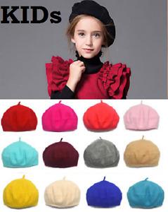 Kids Children Fashion Unisex Wool Warm Beret Beanie Hat Cap French Style Gift UK