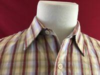 Genuine Roebucks Vintage Brown Plaid Long Sleeve Shirt Mens Large Sears