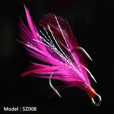 20pcs Fishing Hooks Treble With Feather Minnow Fishing Lures Crankbaits SZ08 10#