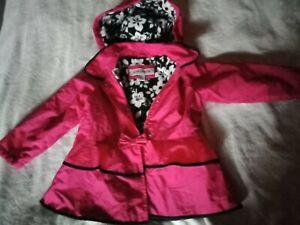 Girls Raincoat size 4 Pink Winter Fleece Hood Jacket London Fog lined