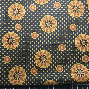 FQ Ochre Black Cotton Quilting Fabric