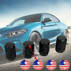 4x Wheel tire cap Black Aluminium air valve stem Cover American Flag Sticker