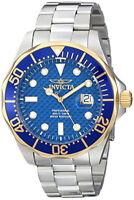 Invicta Men's Pro Diver Gold and Blue Quartz 3 Hand Blue Dial Watch 12566