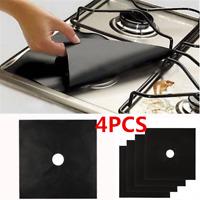 4PC/Set Reusable Fiber Gas Foil Stove Burner Protector Cover Liner Clean Mat Pad