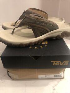 Teva Pajaro 1002432 Brown Leather T Strap Open Mens Summer Flip Sandals Sz 11