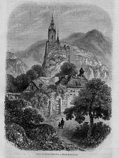 Stampa antica EBERSTEIN Castello Baden-Baden 1858 Alte Stich Old antique print