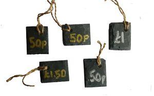 5 Natural Slate Shop Market Price Labels Label Tags Gifts Wedding 4cm x 3cm