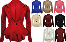Peplum Crop Frill Shift Slim Blazer Jacket New Womens Fit Coat Ladies Size 8-24