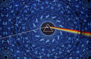 """Pink Floyd Dark Side of the Moon 3-D Wall Hanging 90"""" x 60"""" Single Blue"""