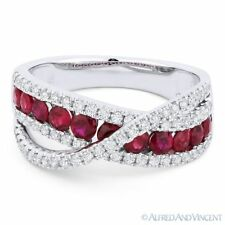 1.36ct Round Cut Red Ruby & Diamond Pave Band Right-Hand Ring in 18k White Gold