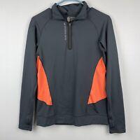 Second Skin Women's Compression Pullover 1/4 Zip Orange Gray Athletic