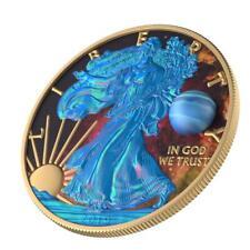 USA 2019 1$ Silver Eagle Astronomy - Neptun 1 Oz Silver Gilded Coin