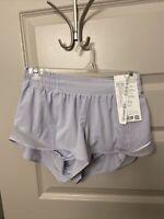 """Lululemon Lilac Serene Blue Hotty Hot Short 2.5"""" size 8"""