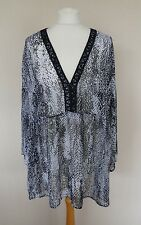 M&S Black Grey Snakeskin Print Semi Sheer Chiffon Tunic Top Plus Size 20 New