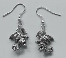 Earrings #208 Pewter LITTLE 3D DRAGON - Silver Tone