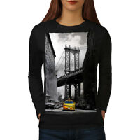 Wellcoda New York Bridge Womens Long Sleeve T-shirt, Yellow Casual Design