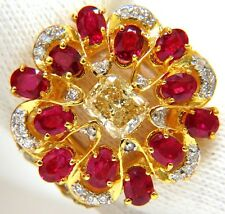 3.44CT NATURAL FANCY YELLOW BROWN DIAMOND RUBY COCKTAIL CLUSTER RING+