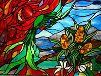 AUSTRALIAN FLORA & RAINBOW LORIKEET SCENE Leadlight Stained Glass Art 4 Windows