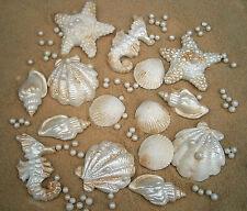 30 Comestibles azúcar Conchas Estrellas De Mar + Arena (Golden azúcar) y Perlas Pasteles De Boda
