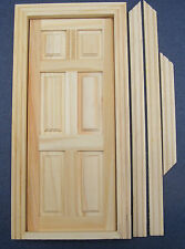 1:12 Scale 6 Panel Natural Finish Opening Wooden Door Tumdee Dolls House 001