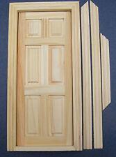 1:12 Scale 6 Panel Natural Finish Internal Wooden Door Dolls House Miniature