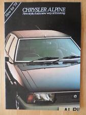 CHRYSLER Alpine 1979 range UK Mkt sales brochure