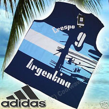 NEW S Mens Adidas Argentina Crespo Football Shirt Vest Tank Top World Cup Soccer