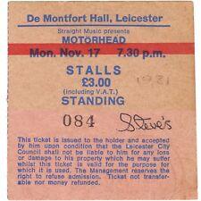 MOTORHEAD Concert Ticket Stub LEICESTER UK 11/17/80 THE ACE OF SPADES TOUR Rare