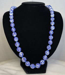 Hand Painted Old Chinese Porcelain Blue White Shou Beads Necklace Vermeil Clasp