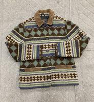 Woolrich Women's VTG Aztec Southwestern Wool Blanket Coat Jacket Suede Medium