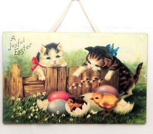 Easter Wall Art Decor Nostalgic Vintage Style Chicks Eggs Kittens  Picture 10x16